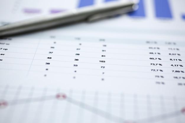 Estadísticas financieras documenta la infografía de bolígrafo en la mesa de la oficina