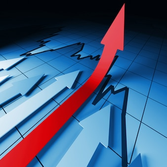 Estadísticas financieras flechas render 3d
