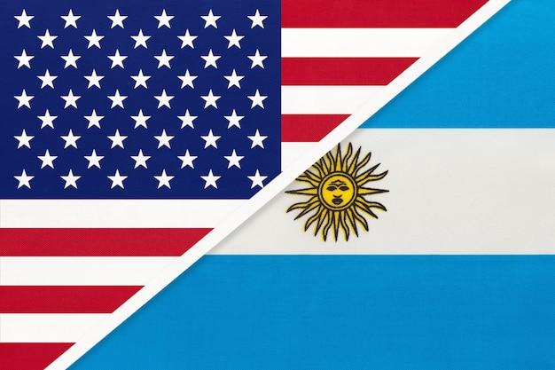 Estados unidos vs argentina bandera nacional. relación entre dos países.