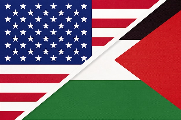 Estados unidos vs palestina bandera nacional de textiles. relación entre dos países americanos y asiáticos.