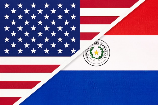 Estados unidos vs paraguay bandera nacional. relación entre dos países.