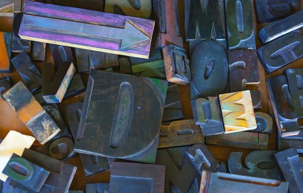 Estampa de letras, letras de bloques