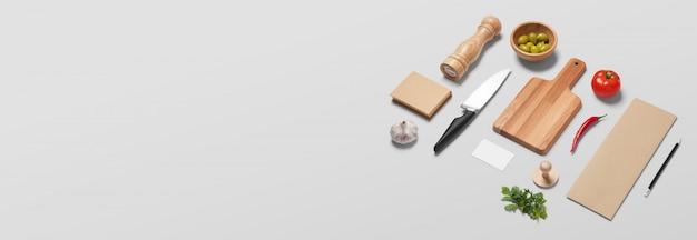 Estandarte blanco con artículos de cocina, utensilios de cocina, alimentos, verduras en estilo italiano.