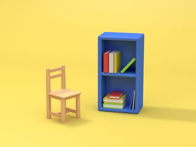 Estante azul y silla fondo amarillo representación 3d