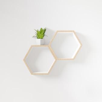 Estante hexagonal con arbolito