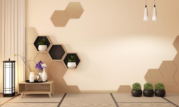 Estante hexagonal de madera y azulejos hexagonales de madera, decoración estilo japonés, representación 3d