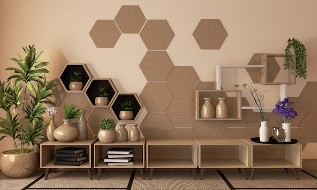 Estante hexagonal de madera y azulejos en la pared y gabinete de madera y decoración de florero de madera en el piso de tatami, representación 3d