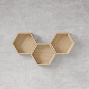 Estante hexagonal con muro de hormigón en bruto