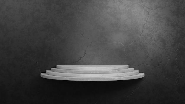 Estante de hormigón vacío sobre fondo de pared de cemento de hormigón gris oscuro. ilustración de renderizado 3d