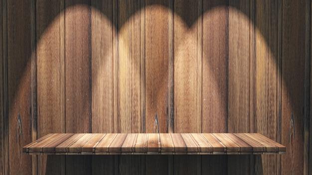Estante de madera 3d con focos brillando hacia abajo.