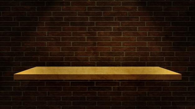 Estante de madera 3d en una pared de ladrillo de grunge
