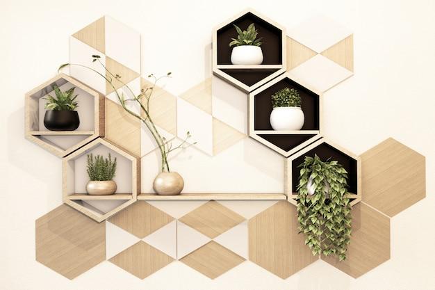 Estante de madera hexagonal japonés en la pared