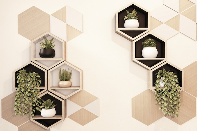 Estante de madera hexagonal japonés en la pared