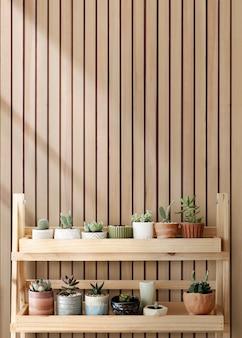 Estante de madera para plantas con plantas mixtas