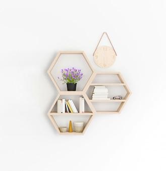 Estante de madera de la representación 3d, estilo japonés mínimo.