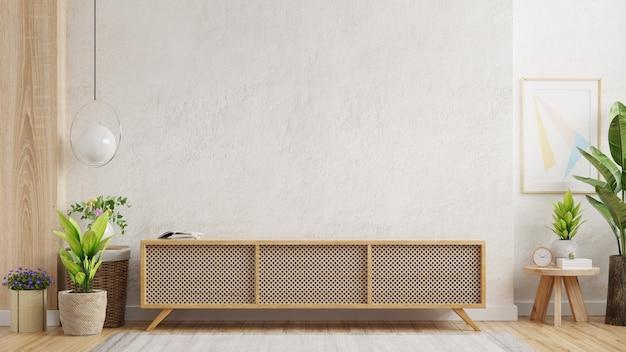 Estante en la moderna habitación vacía de diseño minimalista, renderizado 3d