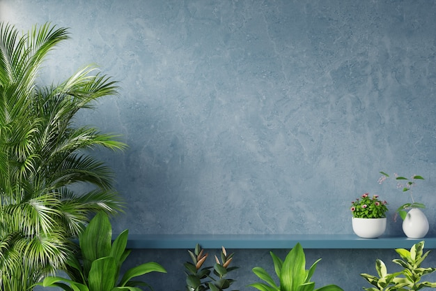 Estante en la pared azul con planta verde, render 3d