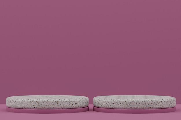 Estante de podio de mármol o soporte de producto vacío estilo minimalista en violeta para la presentación de productos cosméticos.