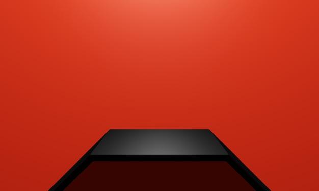 Estante de producto negro renderizado 3d con fondo de pared roja