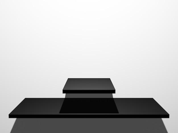 Estante de producto negro renderizado 3d sobre fondo de pared blanca