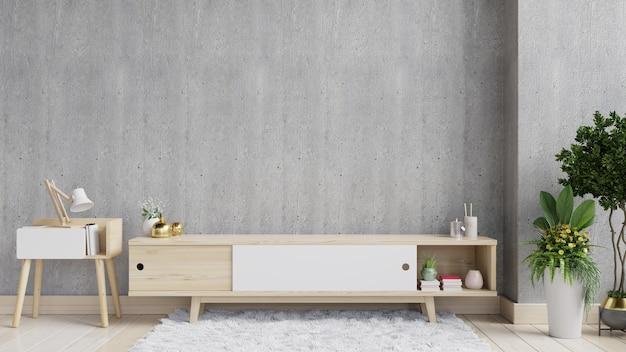 Estante de televisión en una habitación vacía moderna, diseño minimalista, renderizado 3d