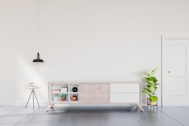 Estante de televisión en la habitación vacía moderna, diseño minimalista.