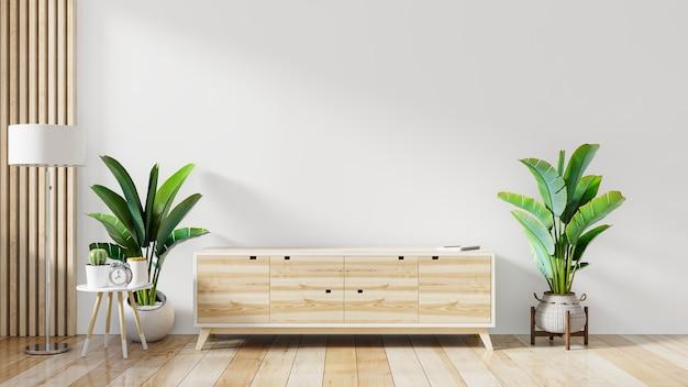 Estante para tv en la moderna sala blanca vacía, renderizado 3d
