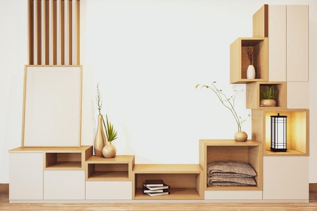 Estantería de gabinete de diseño de estilo japonés de madera en habitación vacía representación mínima en 3d