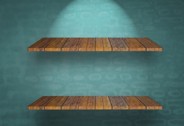 Estantería de madera en una pared azul