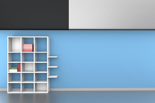 Estantes 3d con libros sobre fondo de pared azul pintado