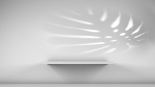 Estantes en la pared blanca para mostrar productos con concepto de sombra de plantas espacio de copia
