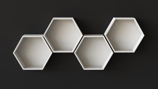 Estantes vacíos de hexágonos blancos sobre fondo de pared en blanco