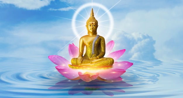 Estatua de buda buda de loto de agua de pie sobre la flor de loto en el fondo