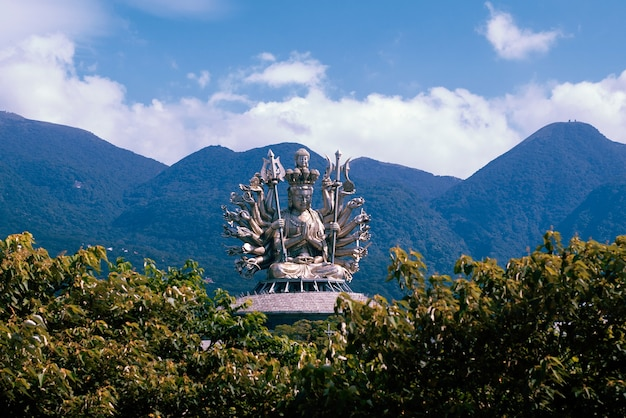 Estatua de buda en entorno natural.