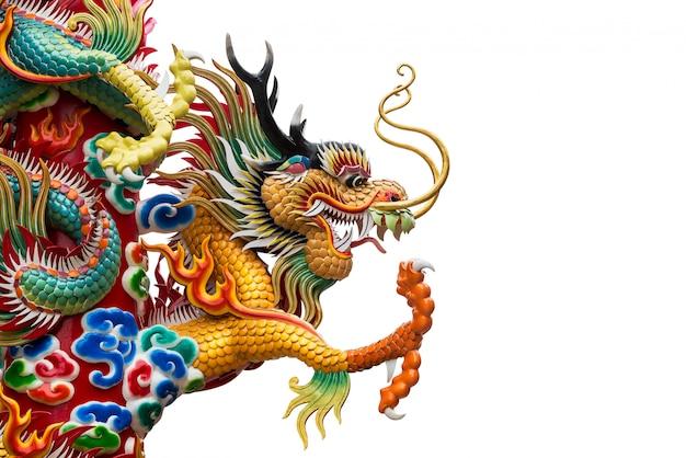 Estatua del dragón dorado chino