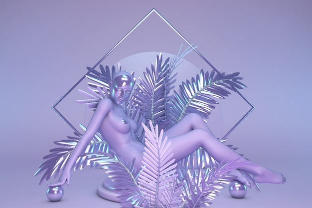 Estatua de una mujer con una máscara en el rostro sentada en palmeras que brillan intensamente de color púrpura composición geométrica arte abstracto de fantasía digital