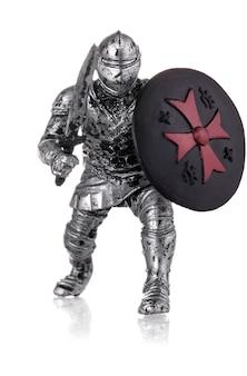 Estatuilla de un caballero medieval aislado