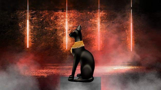 Estatuilla de gato negro egipcio sobre un fondo de neón abstracto.