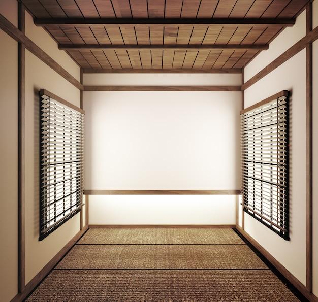 Las esteras de tatami japonesas de la habitación vacía y las puertas corredizas de papel se llaman representación shoji.3d