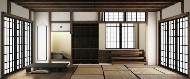 Esteras de tatami y puertas corredizas de papel llamadas shoji en estilo de habitación japonesa. representación 3d