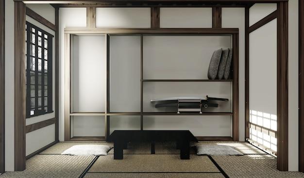 Esteras de tatami y ventana de papel en estilo de habitación japonesa. representación 3d