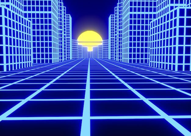 Estética 3d con formas en estilo vaporwave