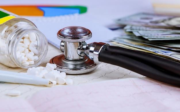 Estetoscopio en billetes de dólares estadounidenses, financiamiento en cardiograma