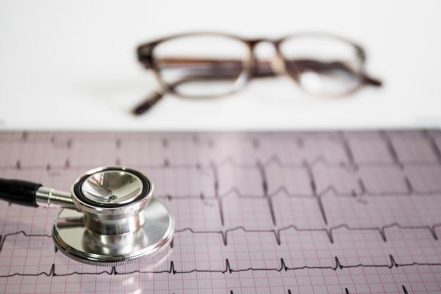 Estetoscopio en cardiograma con anteojos