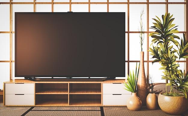 Estilo antiguo, televisión inteligente en gabinete de madera en la habitación, estilo japonés en tatami de piso representación 3d