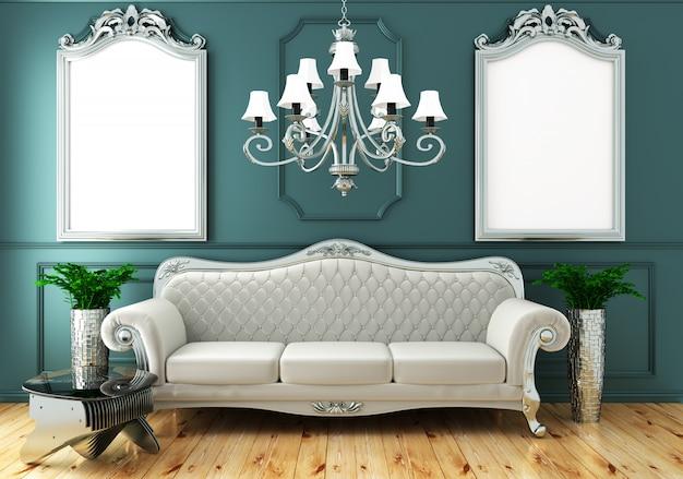 Estilo clásico de lujo de la vida interior, pared de menta verde decoración en piso de madera, representación 3d