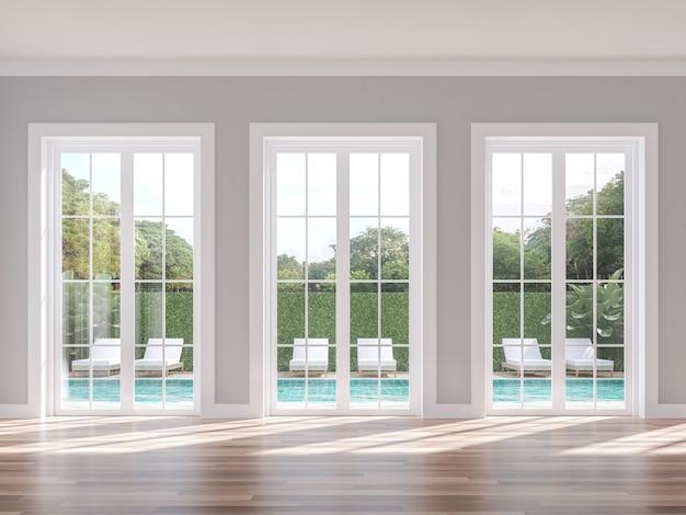Estilo clásico vacío con fondo de terraza de piscina render 3d con vistas a la naturaleza