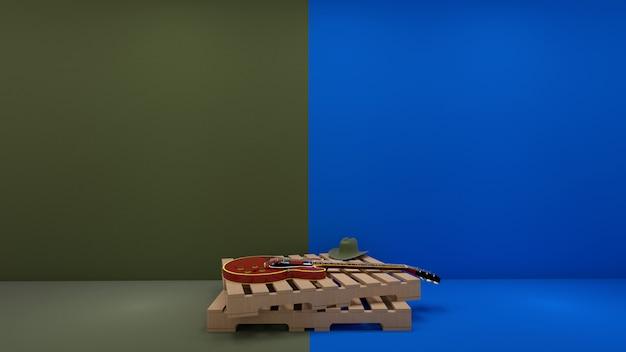 Estilo country y guitarra eléctrica sobre palet de madera en color pastel