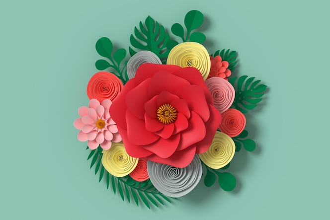 Estilo de papel de flores, arte de papel floral, mosca de papel mariposa
