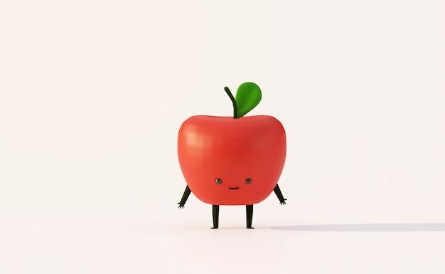 Estilo de dibujos animados divertido de manzana roja fruta